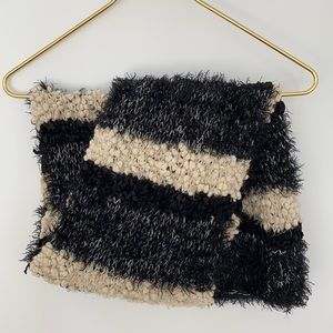 Soft Chunky Fuzzy Stripe Knit Scarf